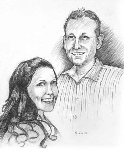 black and white pencil portrait