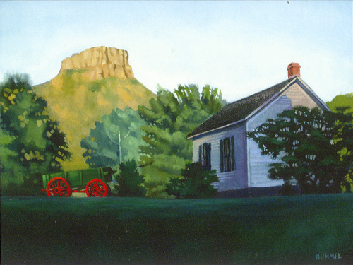 """Golden School House Sunset"" original found under ""Fine Art"""